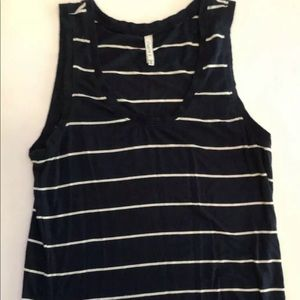 Z supply Tank XS Navy White Stripe Tank scoop neck